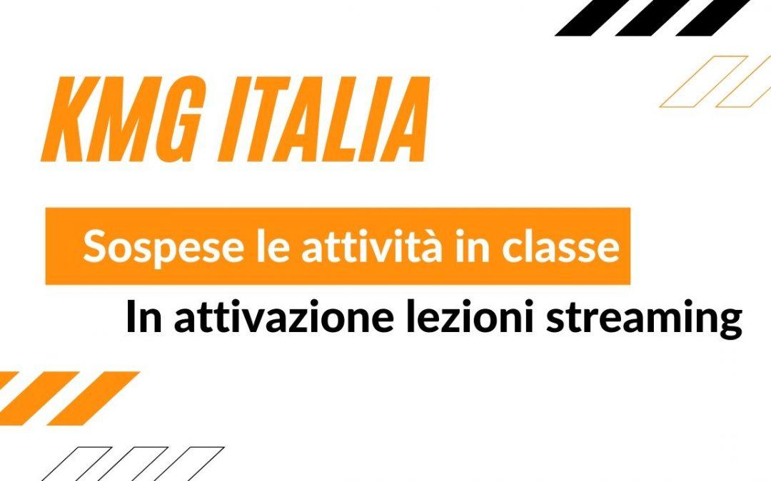Emergenza Corona Virus: KMG Italia sospende le classi e attiva lezioni in streaming